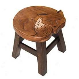 Hand Carved Wood Fo xStool