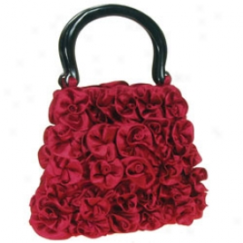 Handcrafted Silk Roses Handbag Red