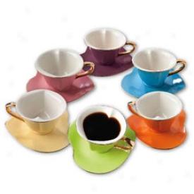 Heart Shaped Teacups & Saucers