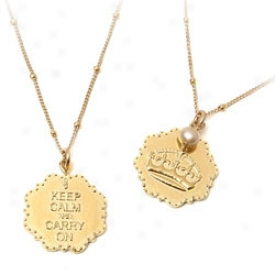 Keep Calm & Carry On Necklace Gold