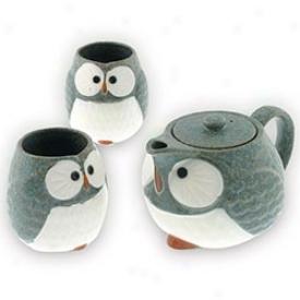 Owl Teapot And Cup Set