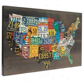 Wooden License Plate Map
