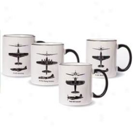 Wwii Airplane Spotter Mugs Stud Of 4
