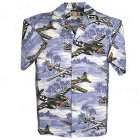 Wwii Bomber Plane Hawaiian Shirt Large-blue