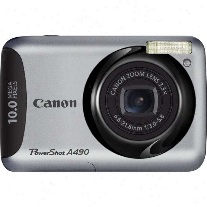 Canon Powershot A490 10 Megapixel Cmpact Camera - 6.60 Mm-21.60 Mm - Silver