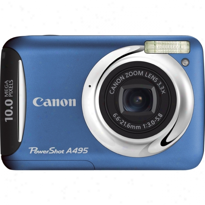 Canon Powershot A495 10 Megapixel Compact Camera - 6.60 Mm-21.60 Mm - Silver