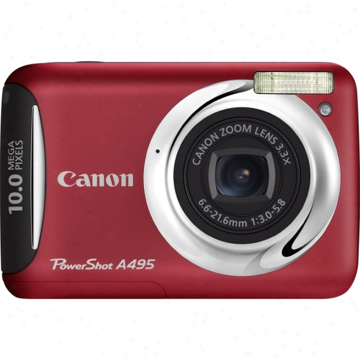 Canon Powershot A495 10 Megapixel Compact Camera - 6.60 Mm-21.60 Mm - Red