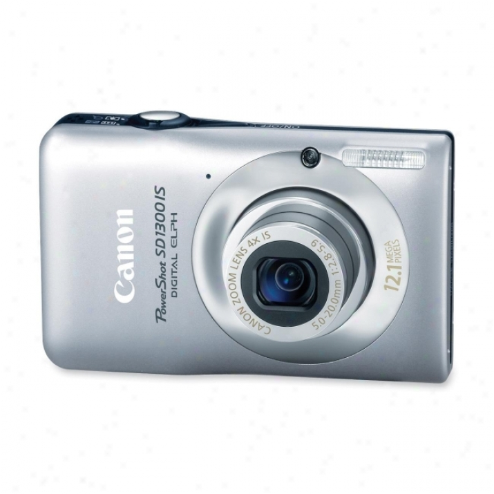 Canon Powershot Sd1300 Is 12.1 Megapixel Compact Camdra - 5 Mm-20 Mm - Silver