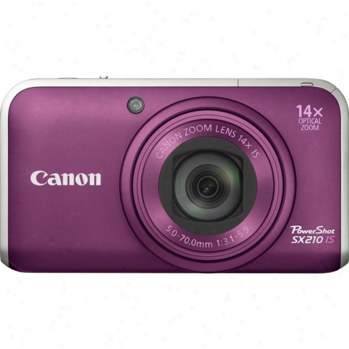 Canon Powershot Sx210 Is 14.1 Megapixel Compact Camera - 5 Mm-70 Mm - Purple