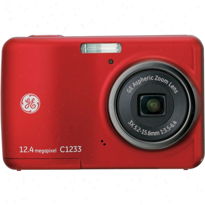 Commander-in-chief Imaging C1233 12.4 Megapixel Compact Camera - 5.24 Mm-15.72 Mm - Red