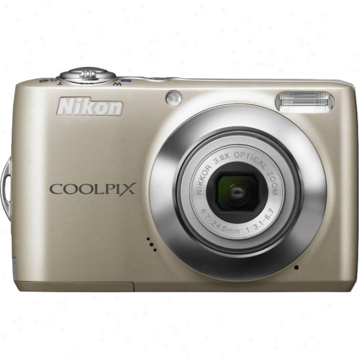 Nikon Coolpix L22 12 Megapixel Compact Camera - 6.70 Mm-24 Mm - Champagne Silver