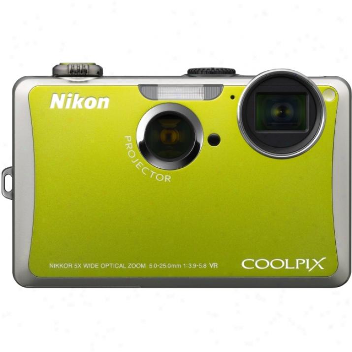 Nikon Coolpix S1100pj 14.1 Megapixel Compact Camera - 5 Mm-25 Mm - Green