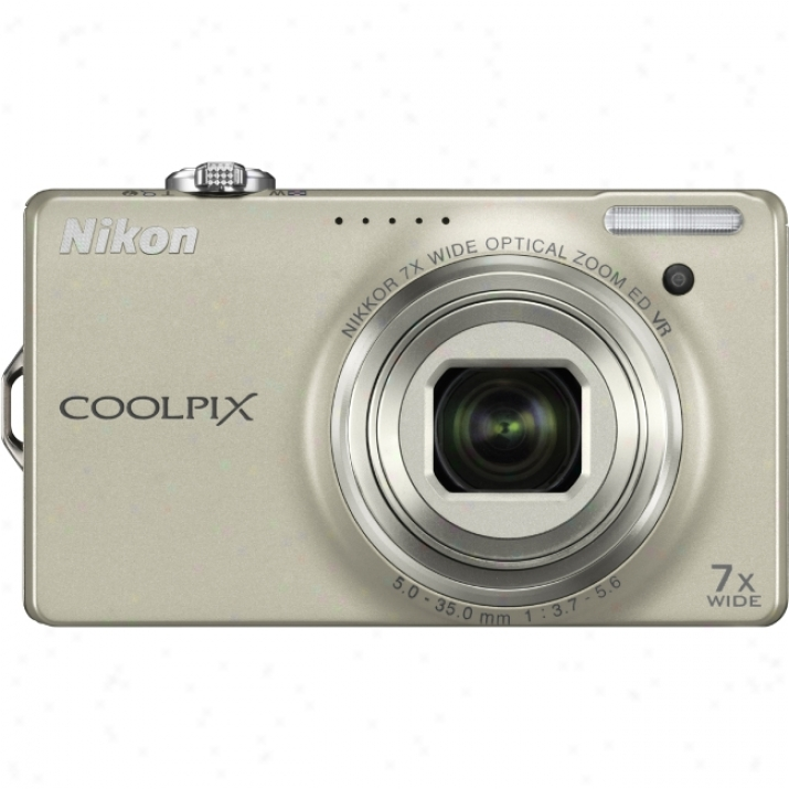 Nikon Coolpix S6000 14.2 Megapixel Compact Camera - 5 Mm-35 Mm - Champagne Silver