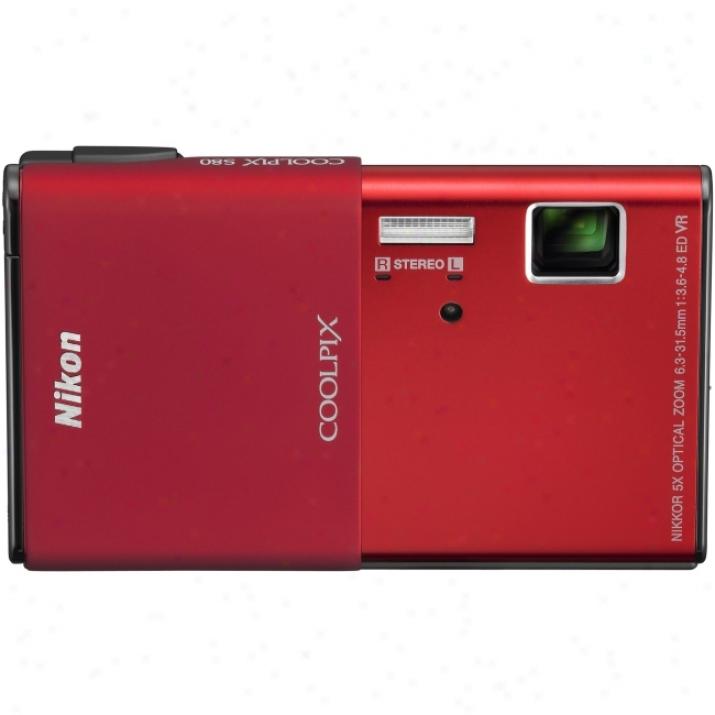 Nikon Coolpix S80 14.1 Megapixel Compact Camera - 6.30 Mm-31.50 Mm - Red