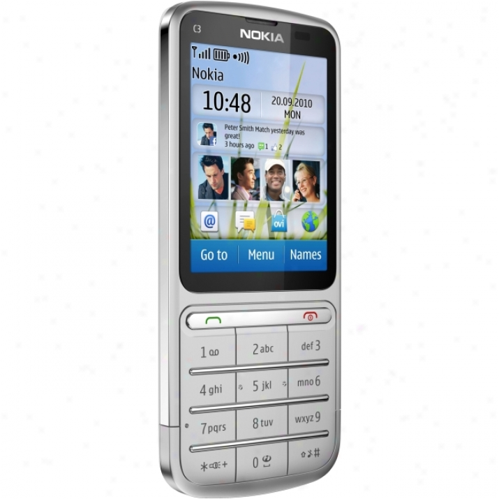 Nokia C3-01 Touch And Type Cellular Phone - Bar - Si1ver