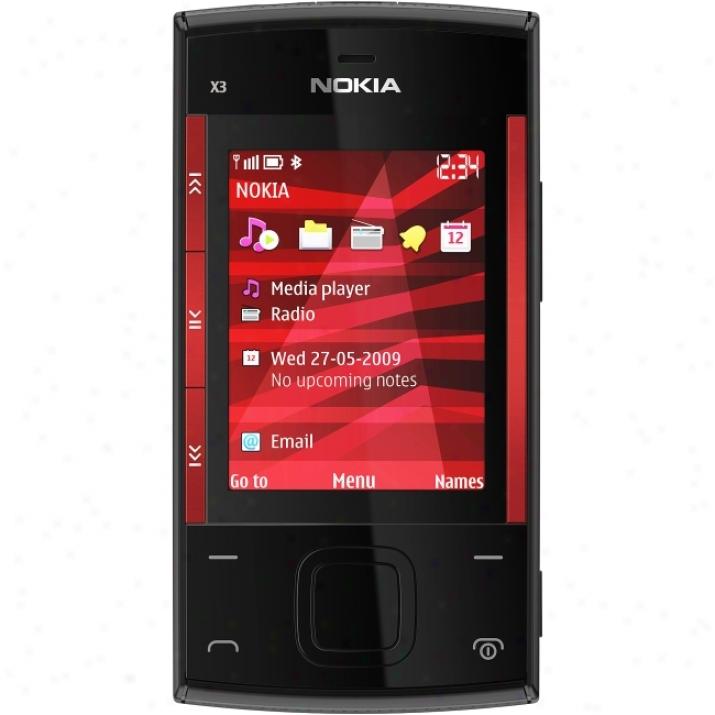 Nokia X3 Cellular Phone - Slide - Black, Red
