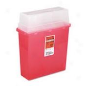 Sharps Disposal Shstem, Rectangualr, Plastic, 5qt, Red