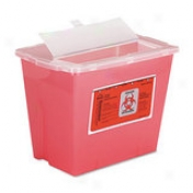 Sharps Waste Receptacle, Square, Plastic,-2gal, Red