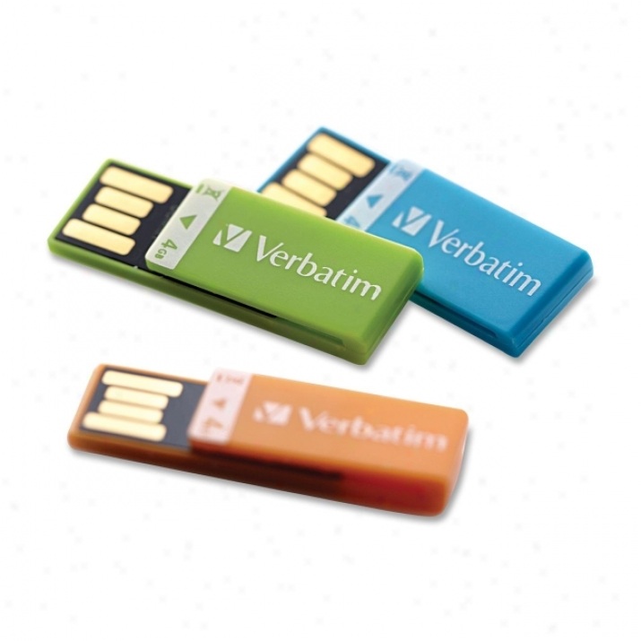Verbatim Clip-it 97563 4 Gb Momentary blaze Drive - Orange, Blue, Green - 3 Pack