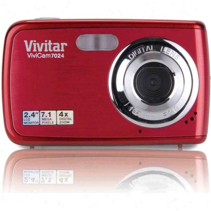 Vkvtar Vivicam V7024 7.1 Megapixel Compact Camera - Strawberry