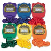 Water-resistqbt Stopwatches, 1/100 Second, Assorted Flag, 6 Per Set