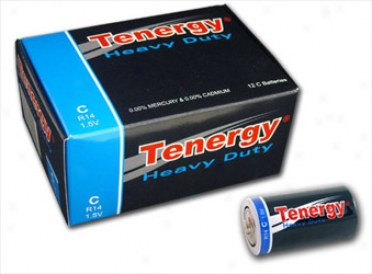 1 Box: 12pcs Tenergy C Size (r14) Heavy Duty Carbon Zinc Batteries(12x40306)