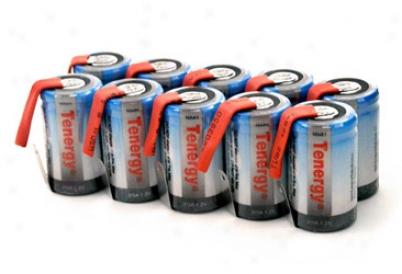 10pcs Tenergy 2/3a 1600mah Nimh Rechargeable Batteries W/ Tabs