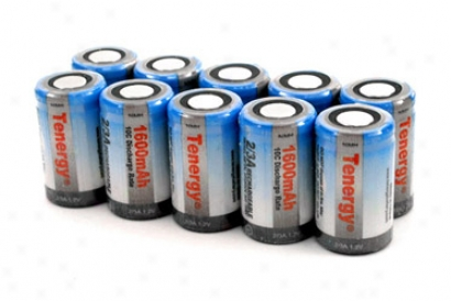 10pcs Tenergy 2/3a 1600mah Nimh Rechargeable Batteries