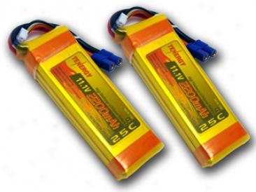 2 Packs: Tenergy 11.1v 2200mah 25c 3 Cell Lipo Battery Packs W/ Ec3 Connectors