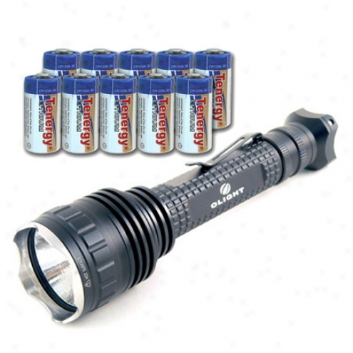 2010 Olight M03 Triton Led Flashlight With Cree Mc-e R2 With 10 Tenergy Propel Cr213a Lithium Battery (ptc Protectrd)
