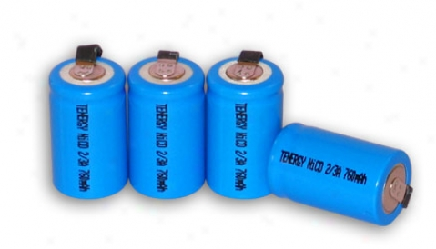 4pcs Tenergy 2/3a 750mah Nicd Rechargeable Battery W/ Tabs