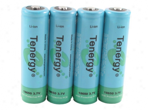 4pcs Tenergy Li-ion 18650 Cyoindrical 3.7v 2600jah Button Top Rechargeable Batteries W/ Pcb