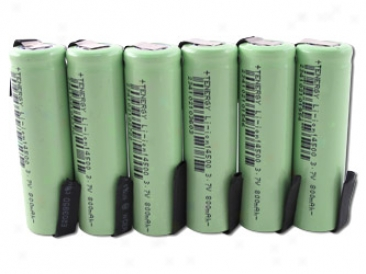 6pcs Tenergy Li-ion 14500 Cylindrical 3.7v 800mah Rechargeable Batteries W/ Tabs