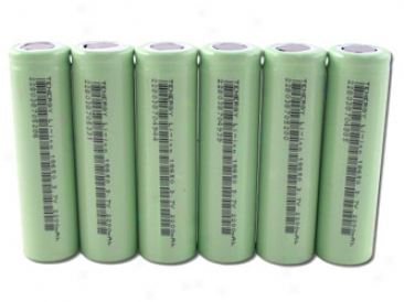 6pcs Tenergy Li-ion 18650 Cylindrical 3 .7v 2200mah Flat Top Rechargeable Batteries