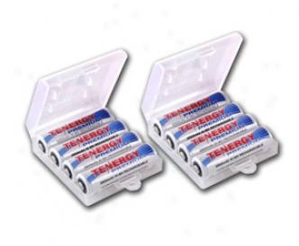 8pcs Tenergy Premium Aa 2500mah Nimh Rechargeable Batteries + 2 Aa Size Holders