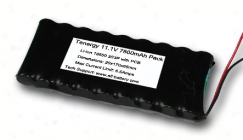 At: Tenergy Li-ion 18650 11.1v 7800mah Side-by-side Pcb Protected Rechargeable Batteru Pack W/ Bare Leads