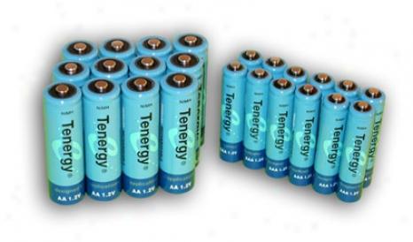 Combo: 24pcs Tenergy Nimh Rechargeable Batteries (12aa/12aaa)