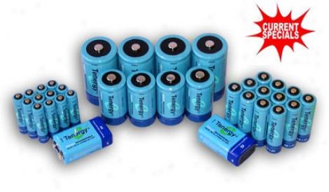 Combo: 34pcs Tenergy Nimh Rechargeable Batteries (12aa/12aaa/4c/4d/2 9v)
