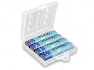Combo: 4pcs Tenergy Aaa 1000mah Nimh Rechargeable Batteries + 1 Case