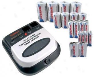 Combo: Bc1hu Universal Smart Charger + 26 Rate above par Nimh Rechargeable Batteries (8aa/8aaa/4c/4d/2 9v)