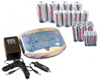 Combo: T-2299 Unlimited Smart Charger + 32 Premium Nimh Rechargeable Batteries (12aa/12aaa/4c/4d)