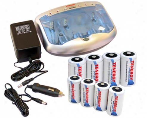 Combo: T-2299 Universal Smart Charger + 4 C & 4 D Premium Nimh Rechargeable Batteries