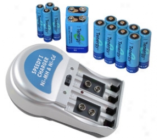 Combo: T-3969a1 Plug-in Nimh Charger + 14 Tenergy Batteries (8aa /4aaa/3 9v)