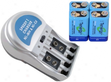 Combo: T-3969a1 Plug-in Nimh Charger + 4 Tenergy 9v 250mah Batteries