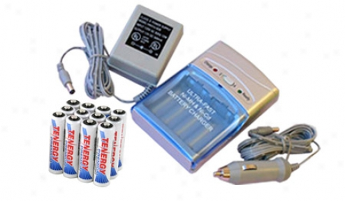 Combo: Tenergy T-1000 Smart Aa/aaa Nimh/nicd + 12 Premium Aaa 1000mah Nimh Rechargeable Batteries