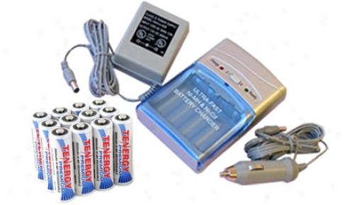 Combo: Tenerg T-1000 Smart Aa/aaa Nimh/nicd Battery Charger + 12 Premium Aa 2500mah Nimh Rechargeable Batteries
