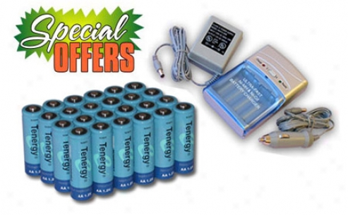 Combo: Tenergy T-1000 Smart Aa/aaa Nimh/nicd Battery Charger + 24 Aa 2600mah Nimh Rechargeable Battteries