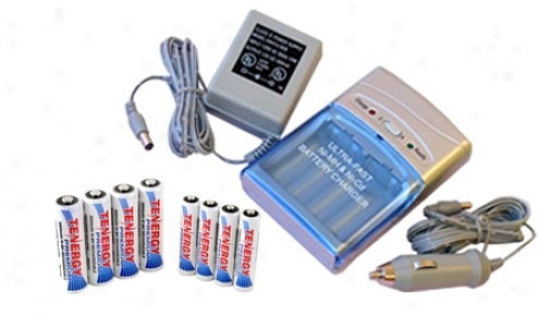 Comb:o Tenergy T-1000 Smart Aa/aaa Nimh/nicd Battery Charger + 4 Aa & 4 Aaa Premium  Nimh Rechargeable Batteries