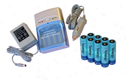 Combo: Tenergy T-1000 Smart Aa/aaa Nimh/nicd Battery Charger + 8 Aa 2600mah Nimh Rechrgeable Batteries