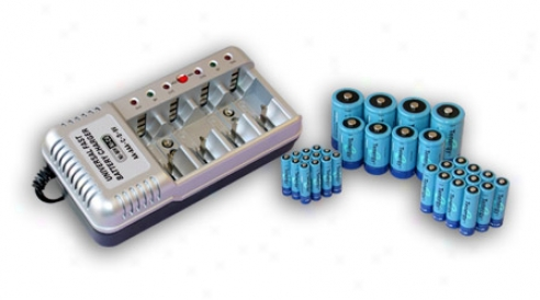 Combo: Tenergy T-1199b Universal Battery Charger + 32 Nimh Rechargeable Batteries (12aa/12aaa/4c/4d)